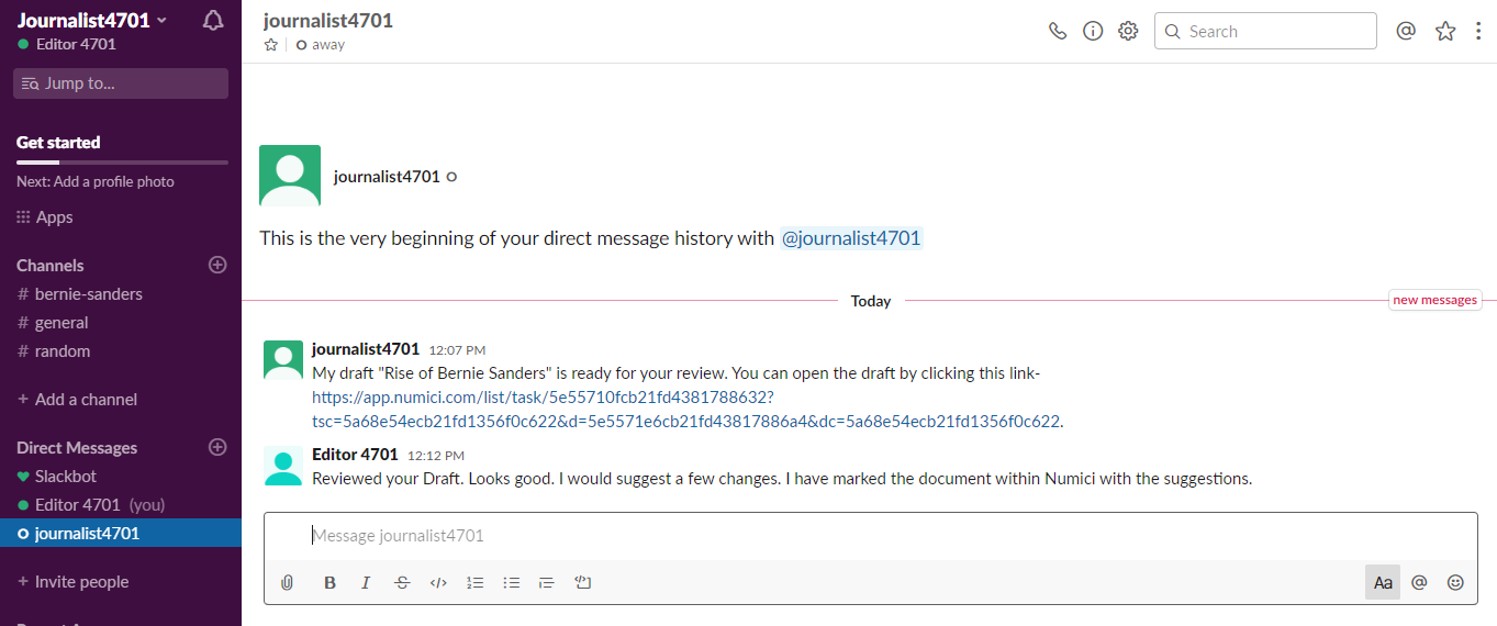 Slack Direct Message