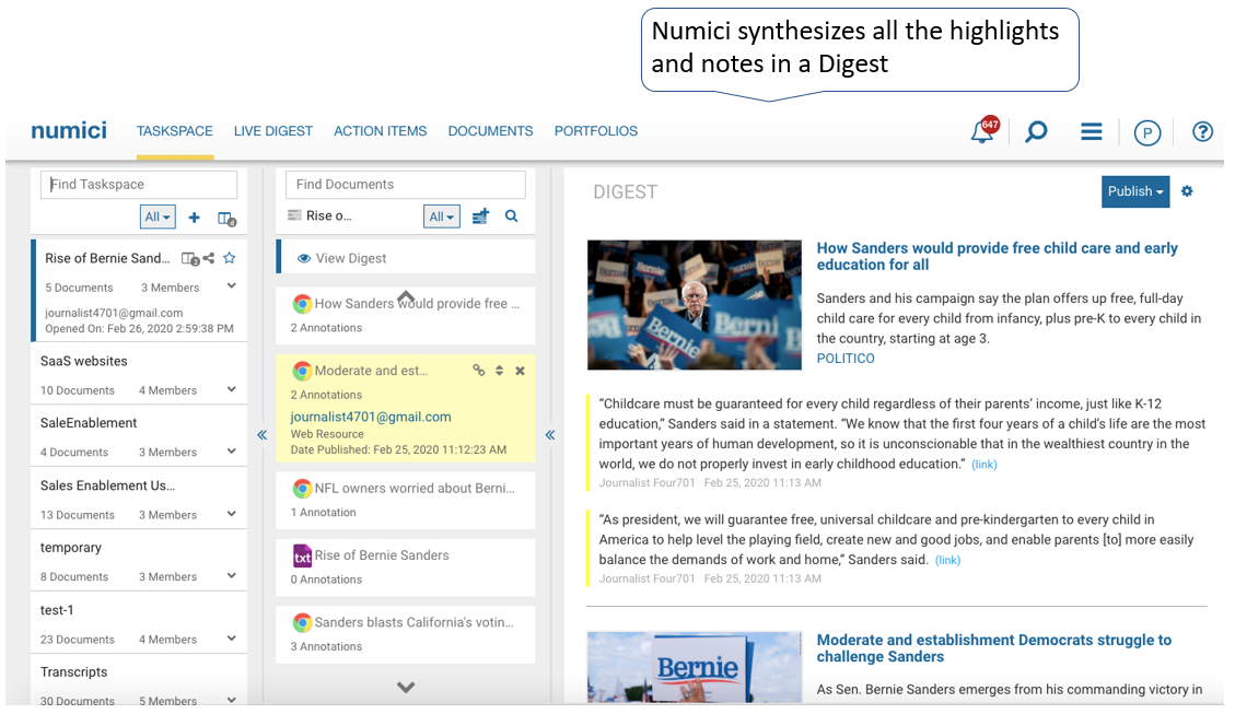 Numici synthesizes all the highlights and notes in a Digest